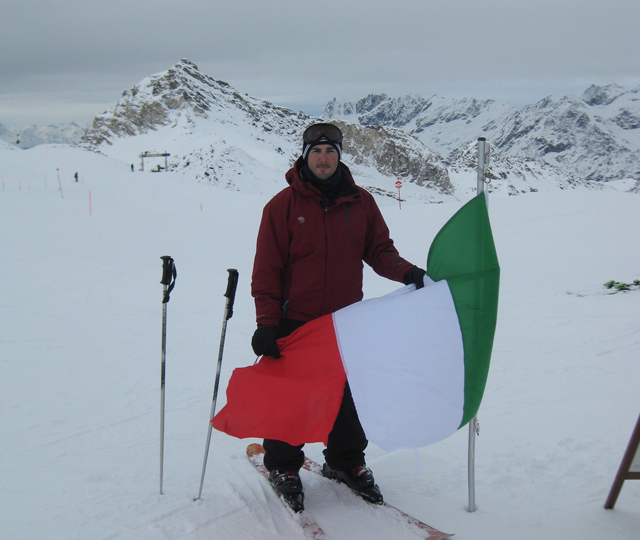 Skiing into Italy from the Swiss Alps.