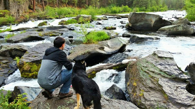 Hiking the Deschutes River Trail near the Old Mill District in Bend, Oregon with my dog.