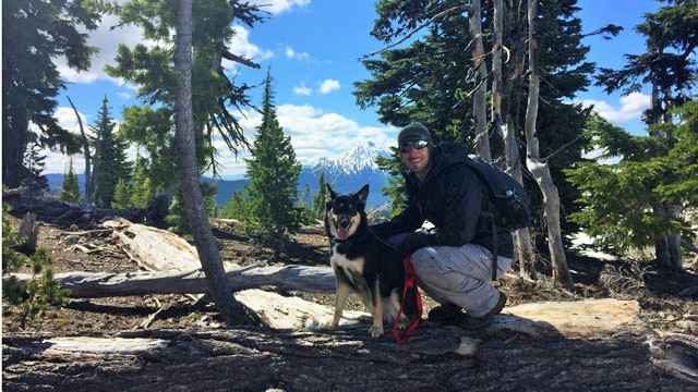 Hiking South Sister Mountain just outside Bend, Oregon with my dog.