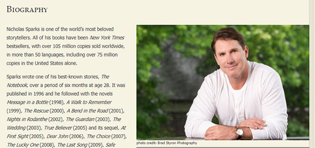 nicholas sparks biography Nicholas sparks, author of the notebook, on librarything.